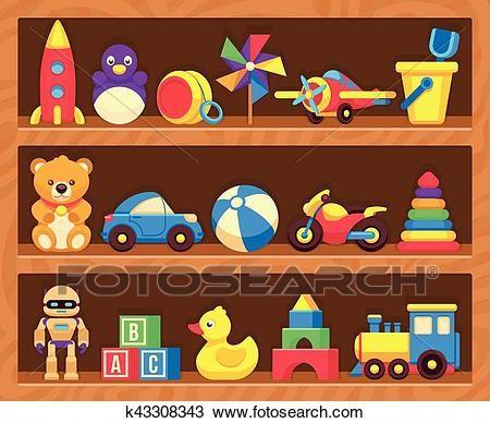 Kids toys on wood shop shelves Clipart.