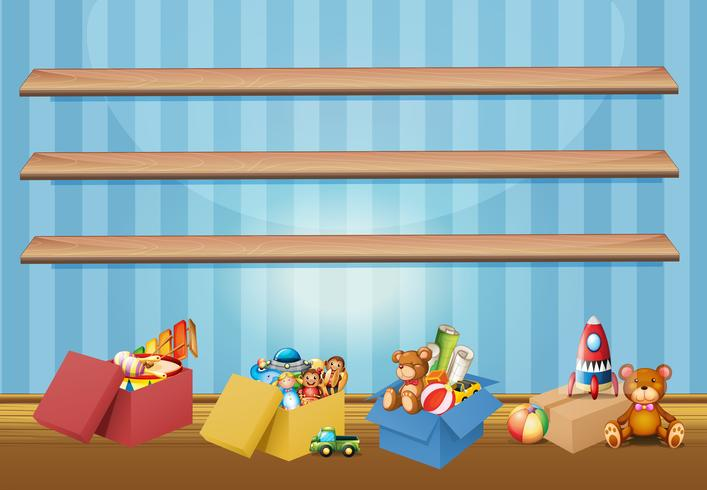 Empty shelves and toys on the floor.