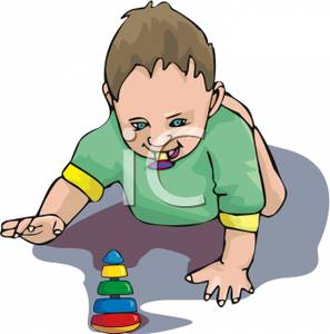 A Bare Bottomed Toddler with a Pacifier Playing on the Floor.