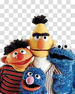 Four Sesame Street characters illustration, Sesame Street.
