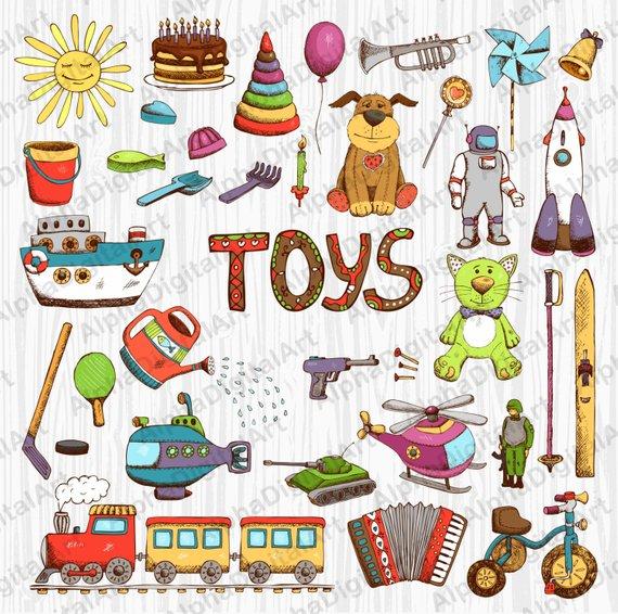 36 Kids Toys clipart,Kids clipart,Kids clipart set, digital.