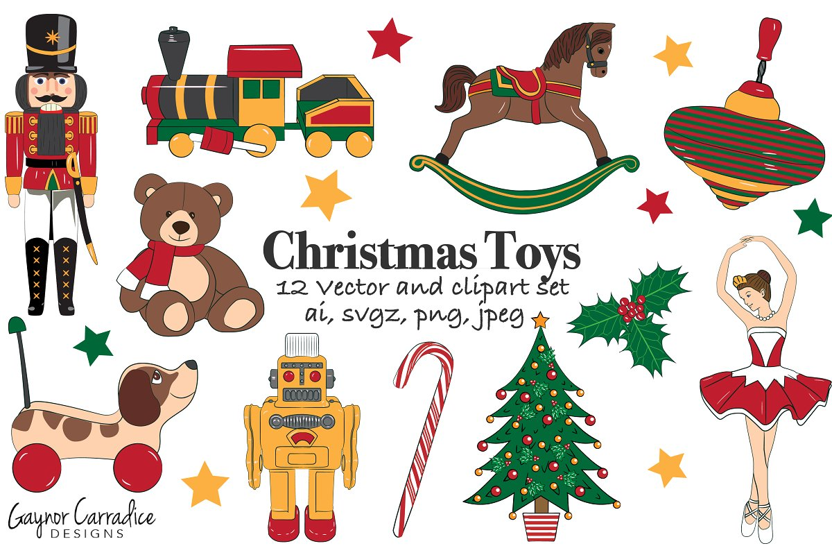 Christmas toys vector set & clipart.