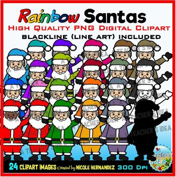 Rainbow Santas Clip Art for Personal and Commercial Use.