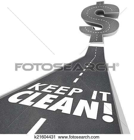 Clipart of Keep It Clean 3d Words Road Street Cleaning Environment.