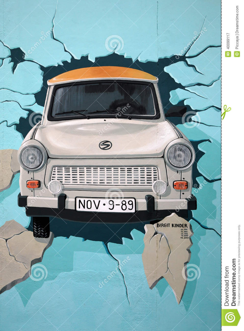 Mural Of Trabant Car Breaking Through Berlin Wall Editorial.