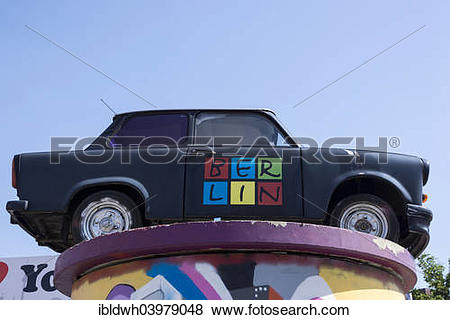 """Pictures of """"Lettering """"""""""""""""Berlin"""""""""""""""" on a Trabant car, also Trabi."""