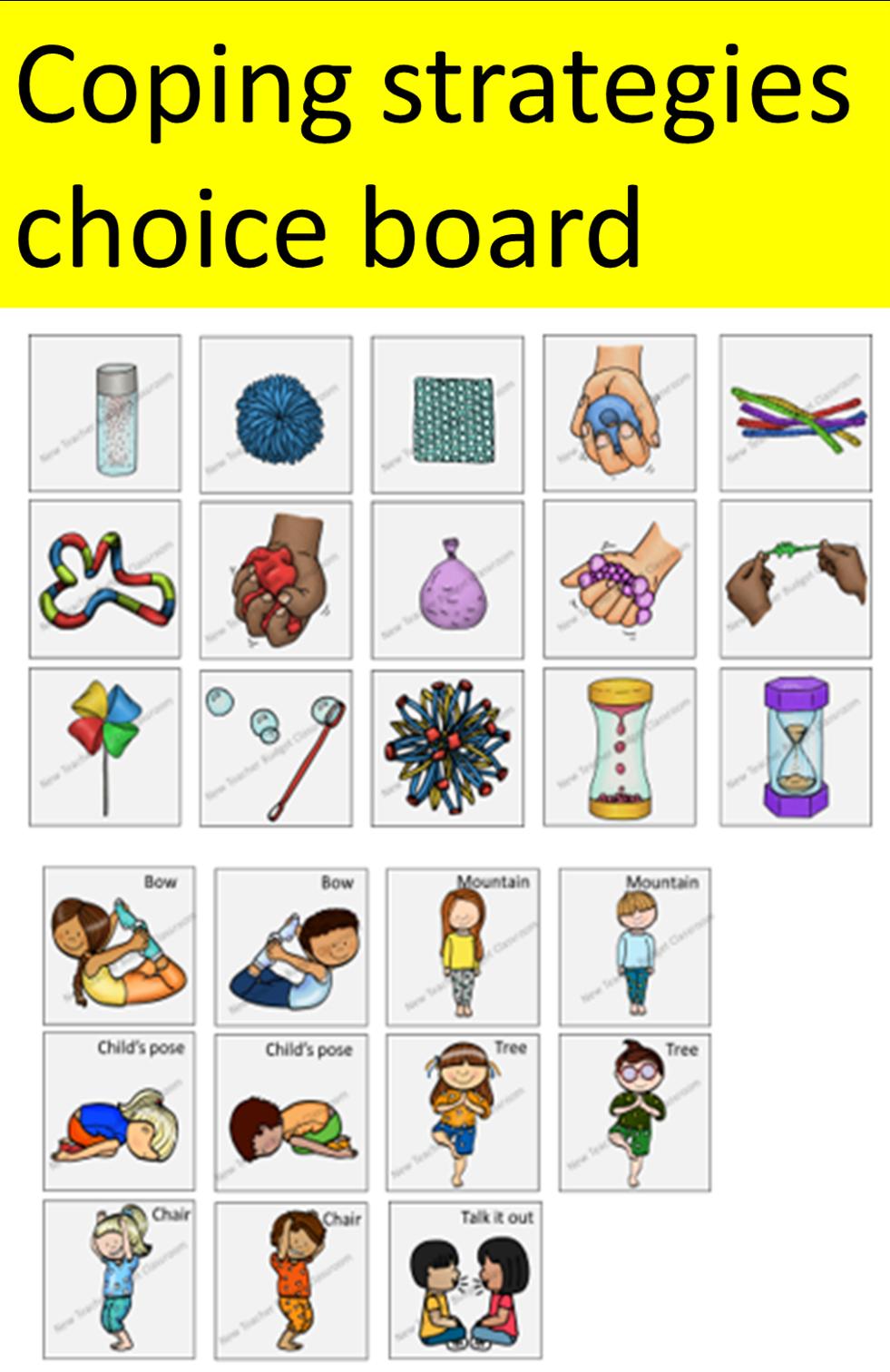 Calm corner choice board.