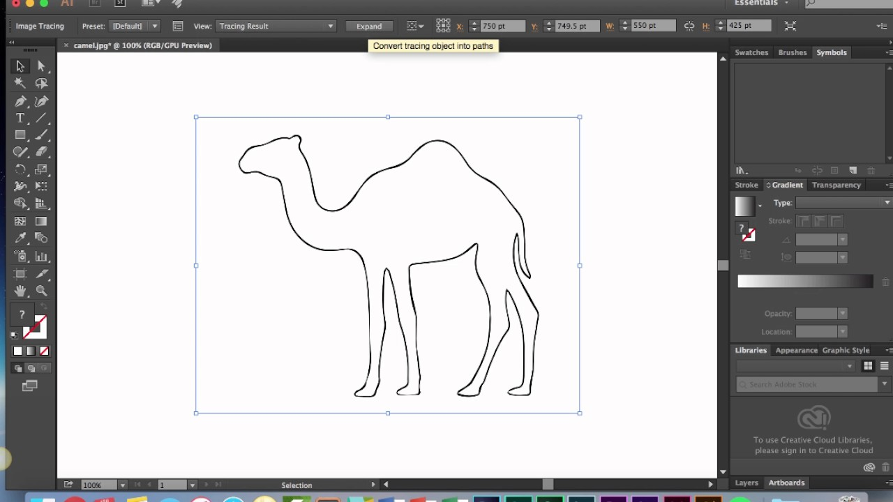 Creating an Adobe Illustrator vector from a JPEG or PNG with Image Trace.