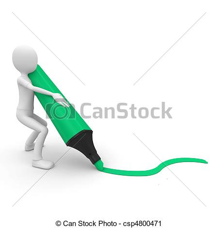 Clipart of 3d man with marker tracing a line isolated on white.