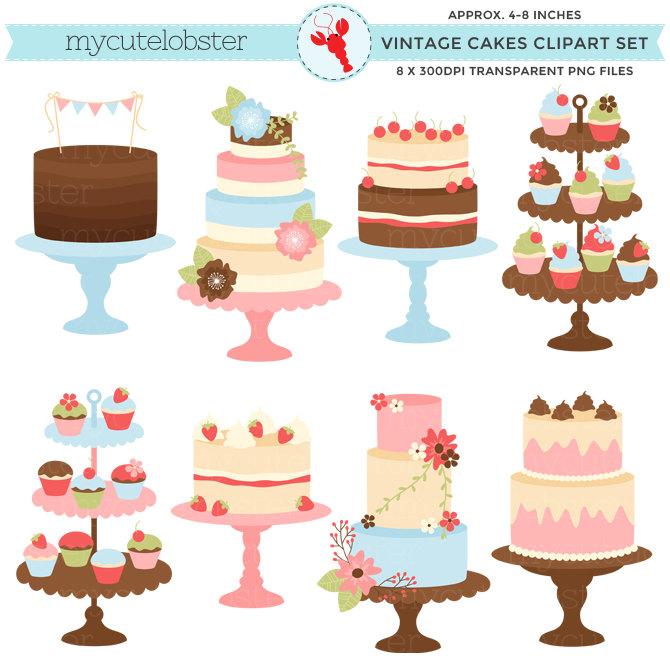 Pretty Vintage Cakes Clipart Set.