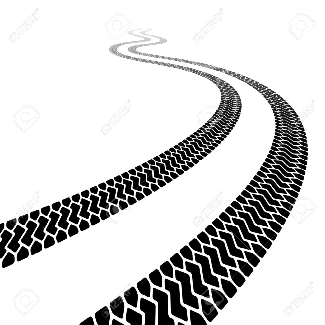 Winding Trace Of The Terrain Tyres Royalty Free Cliparts, Vectors.