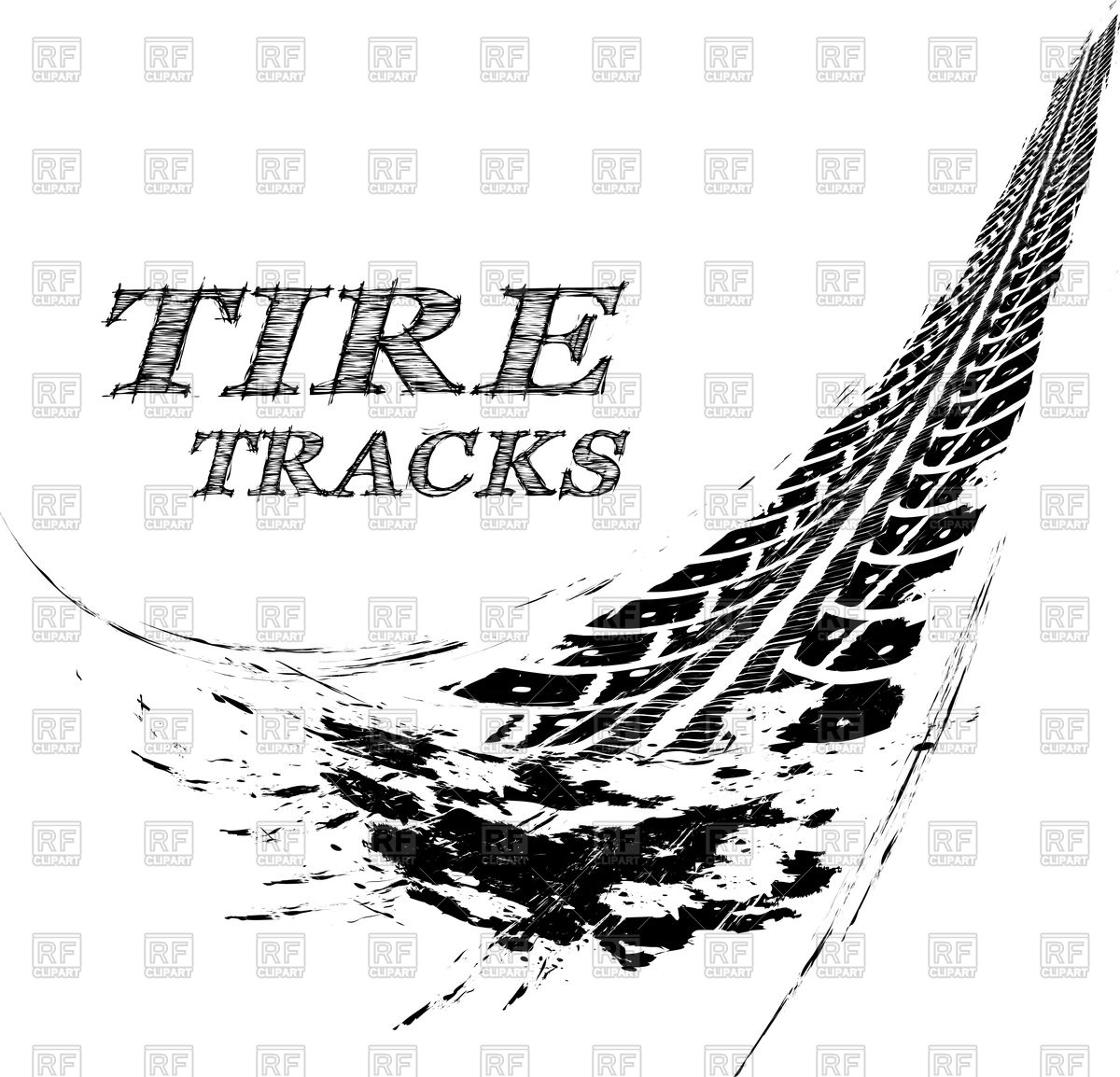 Grunge wheel tire trace Vector Image #103818.