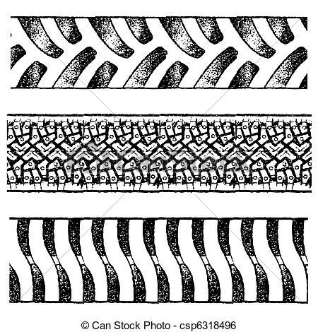 Clip Art Vector of tire tracks.
