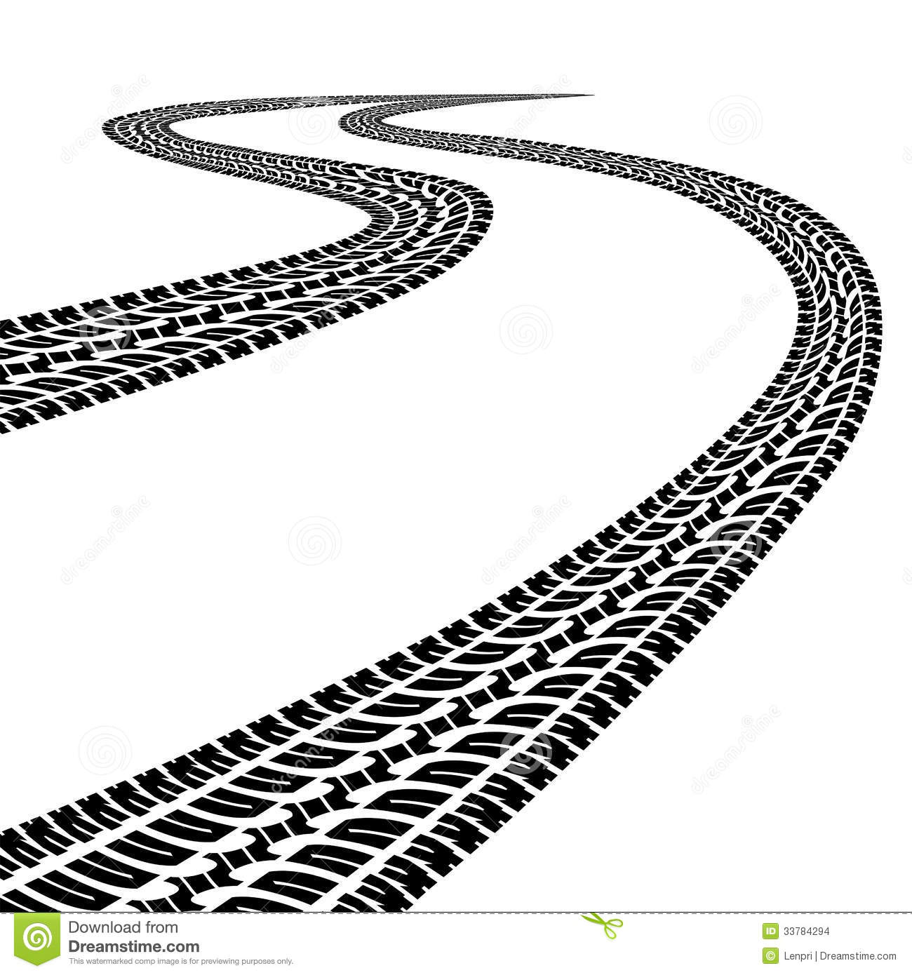 Winding Trace Of The Tires Stock Vector.