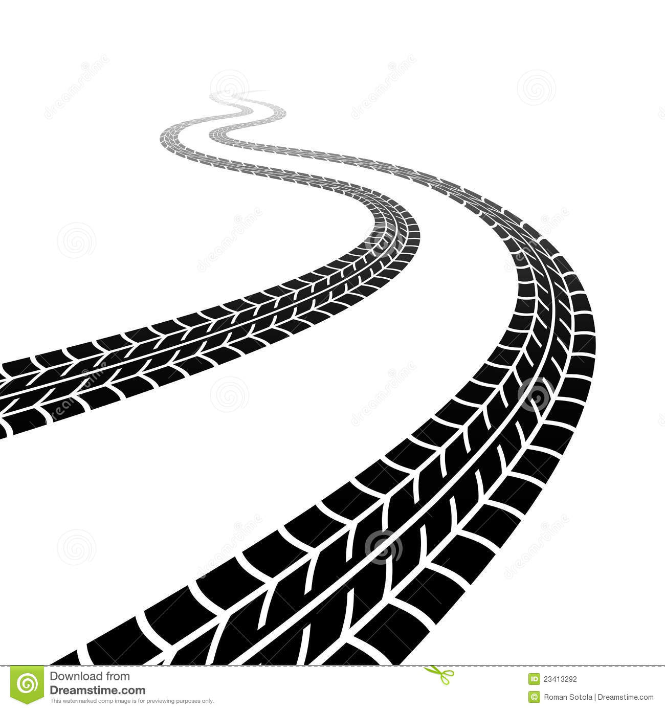Road Tire Marks Clipart.