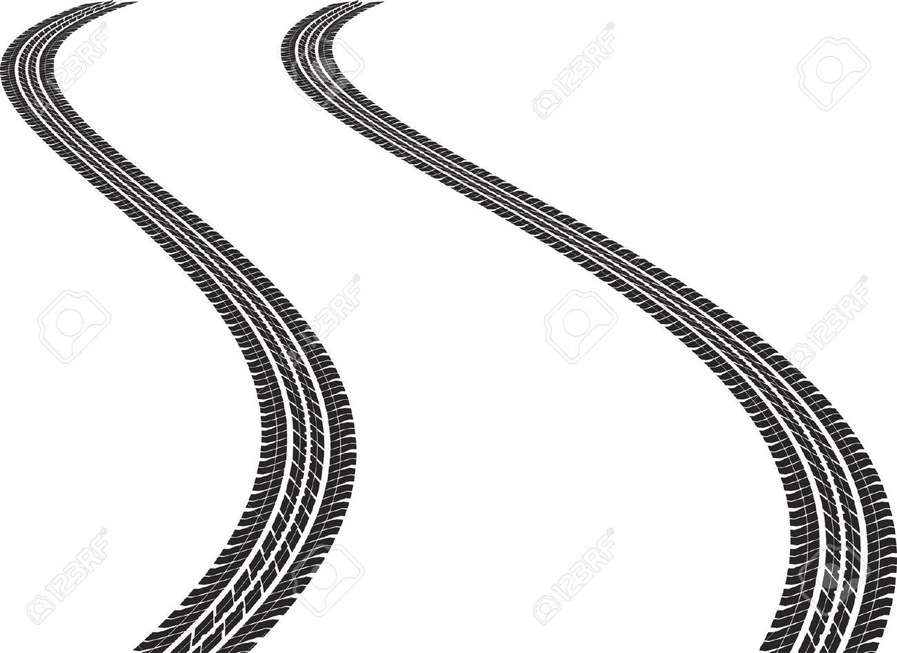 Clip Art Illustration Of Tire Tracks Royalty Free Cliparts.