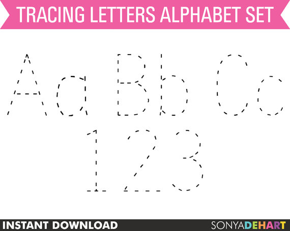 Clipart Digital Alphabet Tracing Dotted Practice Letters Teacher.