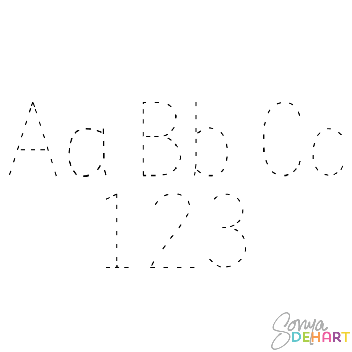 Clip Art Alphabet Tracing Letters and Numbers.