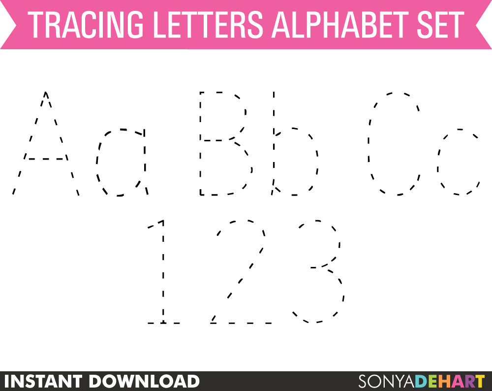 80% OFF Sale Clipart Digital Alphabet Tracing Dotted Practice.