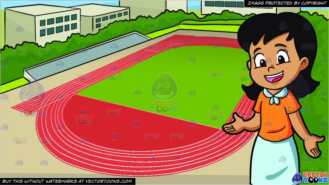 A Middle School Girl Looking Excited And Happy and Track And Field  Background.
