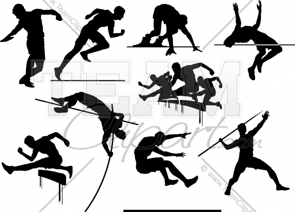track and field clipart black and white.