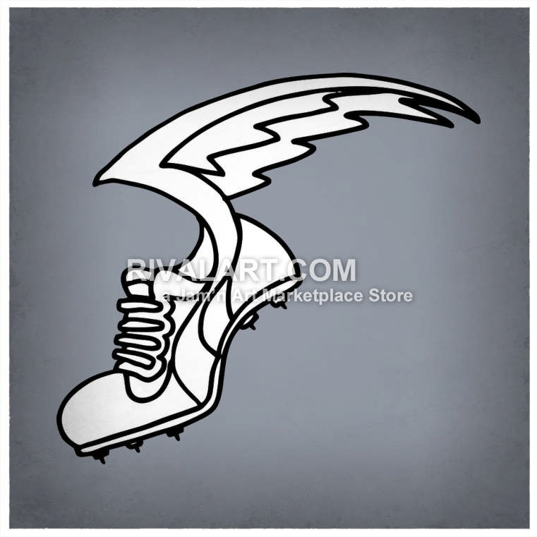 Black White Tennis Athletic Shoe With Wings Flying Track Field.