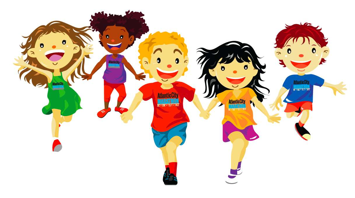 Kids running track clipart.
