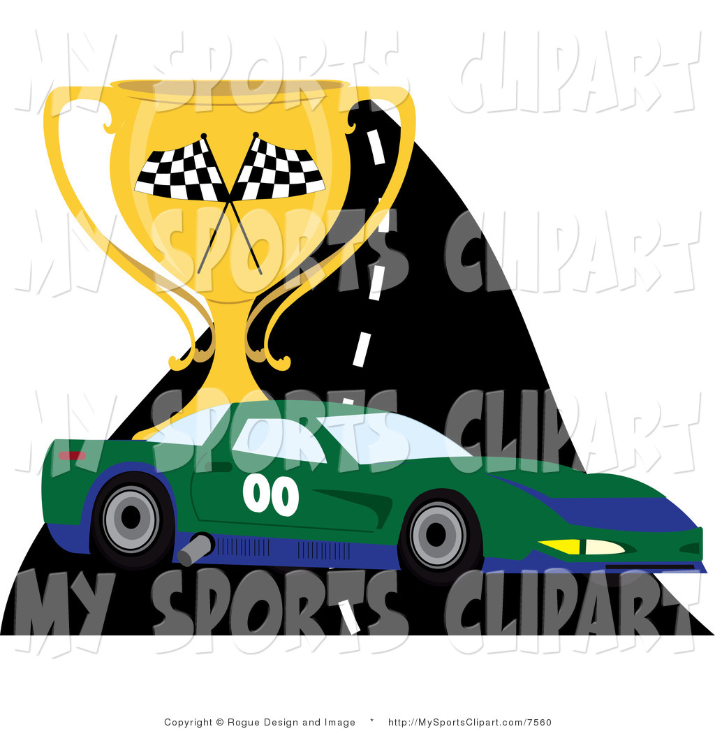 Sports Clip Art of a Race Car on a Track with a Trophy by Pams.