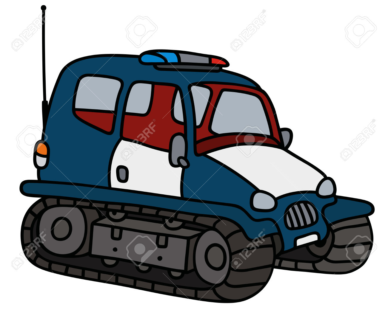 Hand Drawing Of A Dark Blue Small Police Tracked Vehicle Royalty.