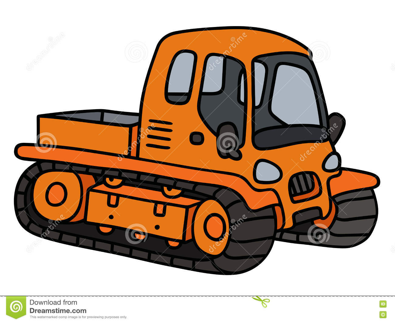 Orange Tracked Vehicle Stock Vector.