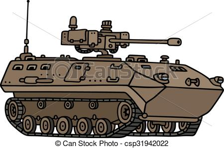 Vector Illustration of Tracked armoured vehicle.