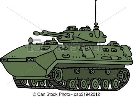 Vector Clip Art of Tracked armoured vehicle.