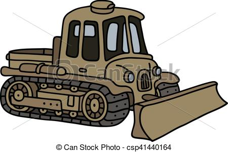Clip Art Vector of Vintage military tracked vehicle.