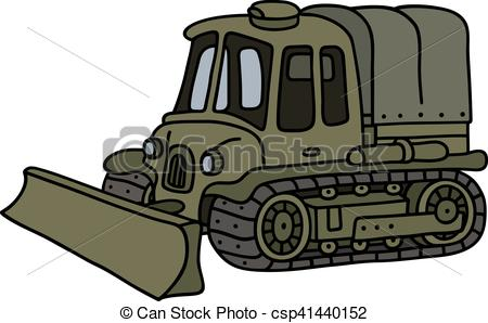Clipart Vector of Funny vintage military tracked vehicle.