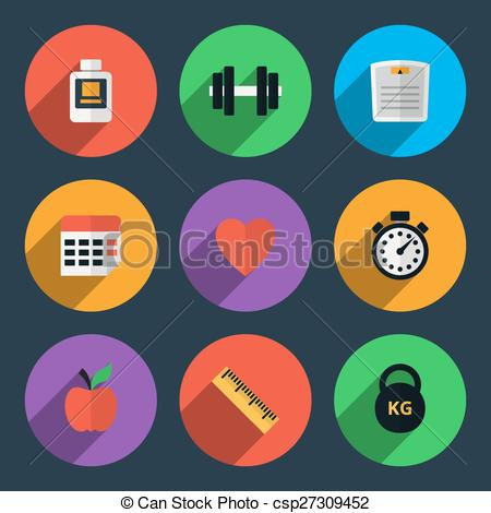 Clipart Vector of Fitness tracker flat icons. Sport gym and health.