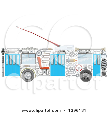 Clipart of a Trolley Bus with Visible Mechanical Parts.