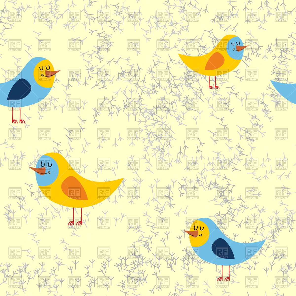 Birds with tracks in sand seamless pattern Vector Image #129855.