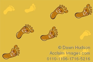 Clipart Image of Footprints In The Sand With Happy Smiling Faces.