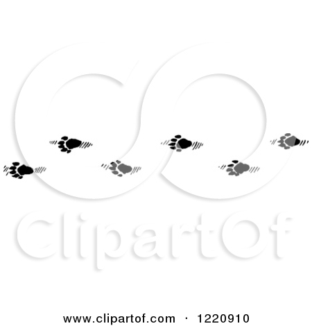 Clipart of Black and White Snowshoe Rabbit Tracks in Snow.