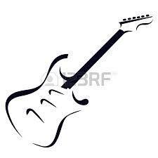 Tatuagem guitarra traço.