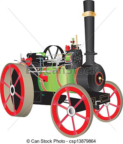 Clip Art Vector of Traction Engine.