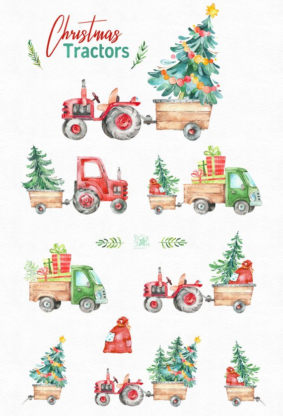 Christmas Tractors. Watercolor holiday country clipart.