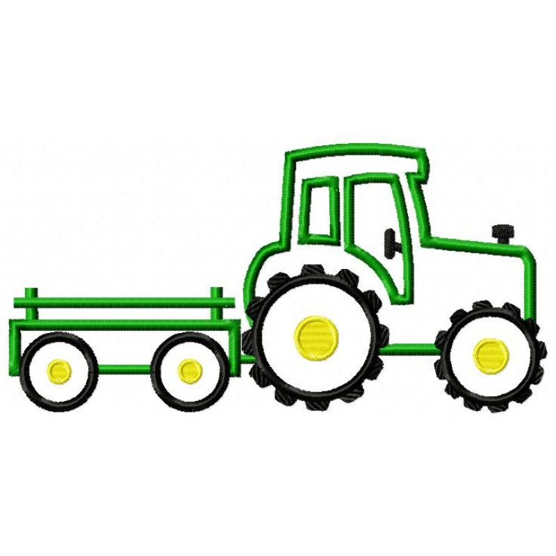 Farm Tractor And Wagon Clipart.