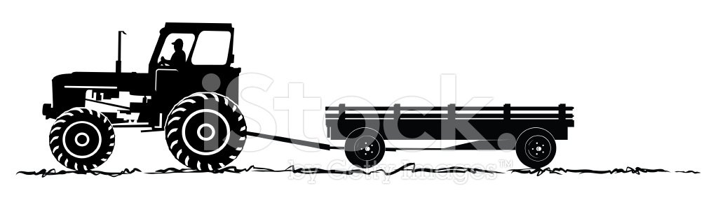 Tractor and Wagon Silhoeutte premium clipart.