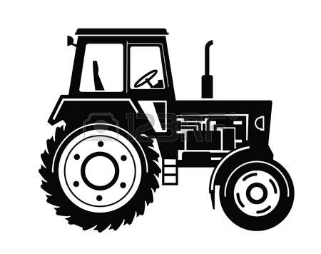 tractor black and white clipart #3
