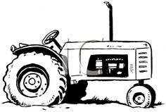 Tractor Clip Art Black And White.