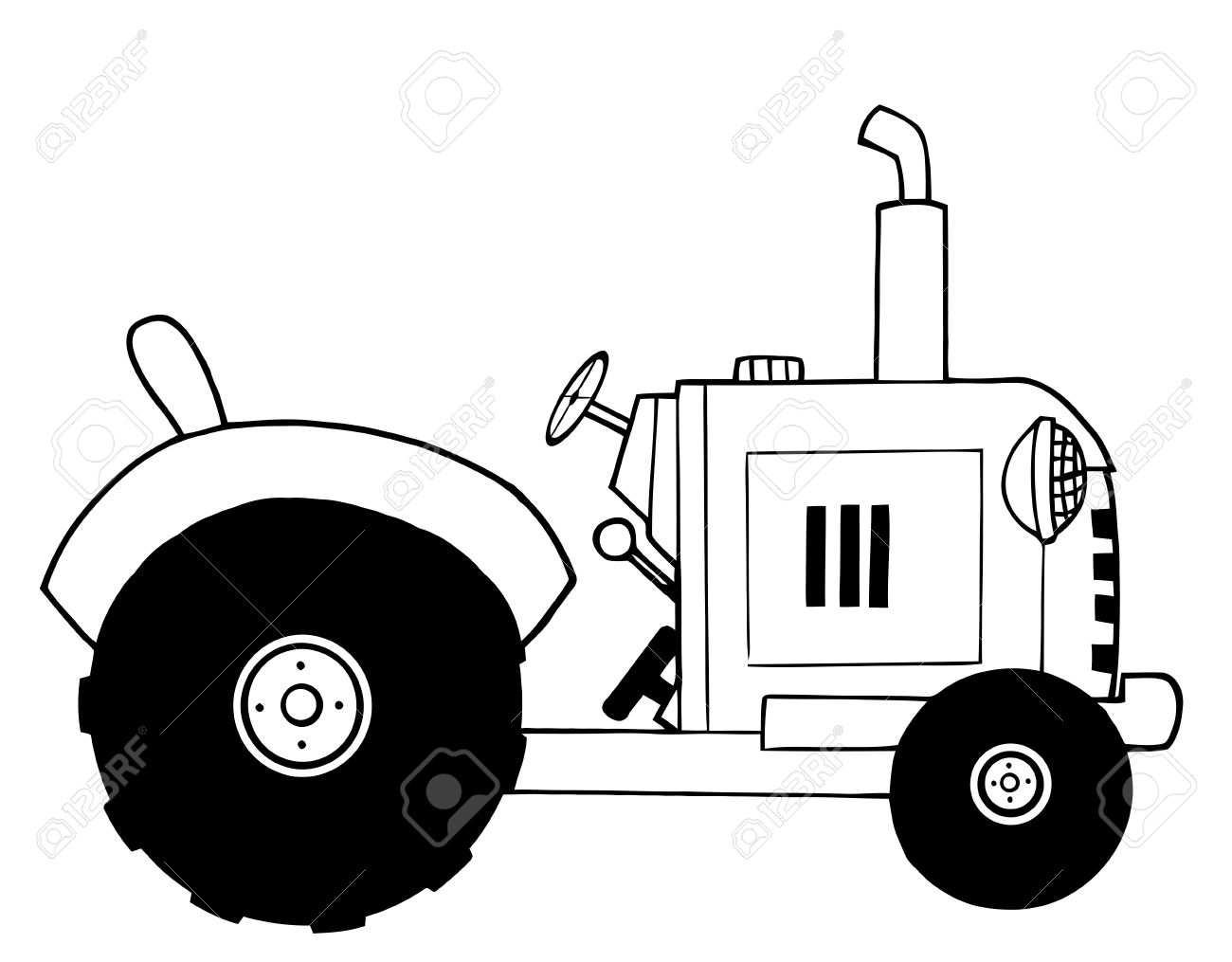 Black And White Farm Tractor Royalty Free Cliparts, Vectors, And.