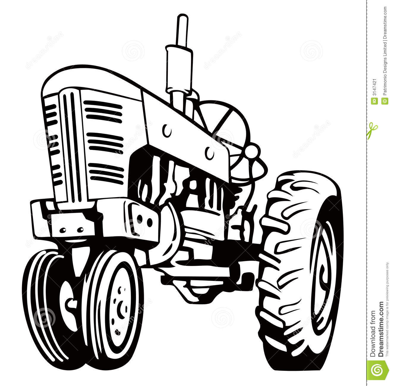 Tractor Black And White.