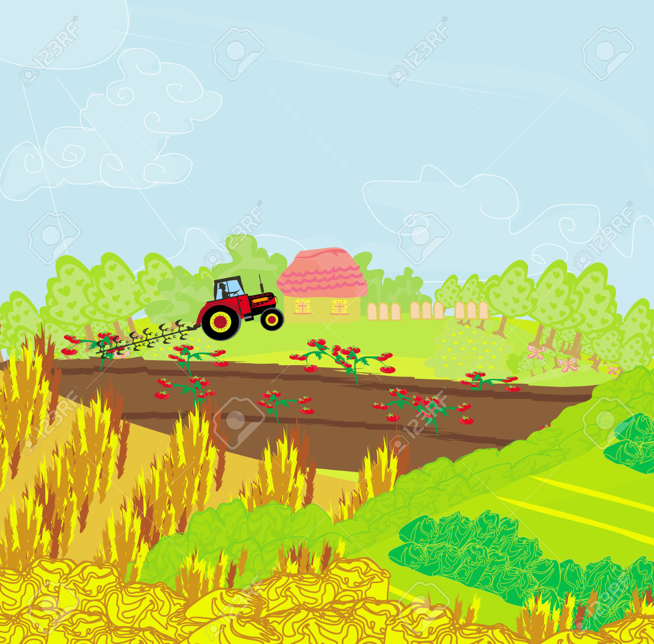 Tractor in Field Clipart (64+).