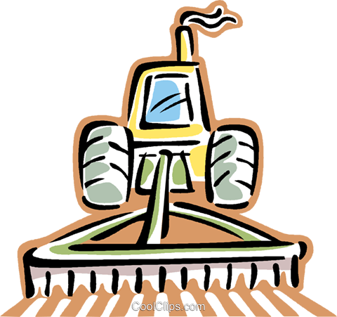 tractor plowing a field Royalty Free Vector Clip Art.
